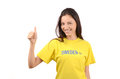 Thumbs up for sweden attractive girl with flag on her yellow t shirt isolated on white Royalty Free Stock Images