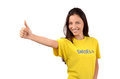 Thumbs up for sweden attractive girl with flag on her yellow t shirt isolated on white Royalty Free Stock Image