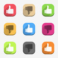 Thumbs up and thumbs down icons set Stock Photos