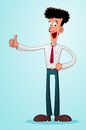 Thumbs up young businessman give a praise with his thumb Royalty Free Stock Photography