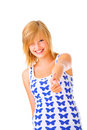Thumbs up - Young female Stock Photography