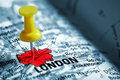 Thumbtack in a  Map Royalty Free Stock Photo