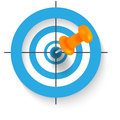 Thumbtack target in the middle of the blue targets Stock Photography