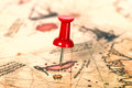Thumbtack in the world map Royalty Free Stock Photo