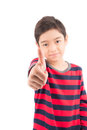 Thump up little boy showing his on white background Stock Images