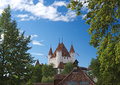 Thun castle dominating the thun skyline switzerland is a city and municipality in administrive district of in Stock Photo