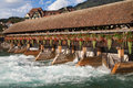 Thun upper sluice between lake and river aare in switzerland Stock Photos