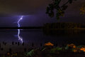 Thunder and lightening storm on the Hudson River in summer Royalty Free Stock Photo