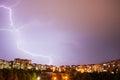 Thunder Lightning In City