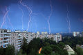 Thunder and lightning over the city. Moscow. Russia. A long expo Royalty Free Stock Photo