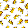 Thunder ray retro patch icon seamless pattern hand drawn bolt with electric icons illustration background eps vector Royalty Free Stock Images