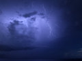 Thunder on the sky in up to sea Stock Photography