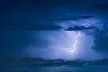 Thunder storm lightning strike on the dark cloudy sky Royalty Free Stock Photo