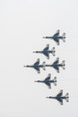 Thunderbird the group of fighter aircrafts flying in airshow exhibition Royalty Free Stock Photography