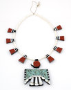 Thunderbird necklace depression era santa domingo native american Stock Images