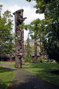 Thunderbird park victoria bc canada indian totem poles Stock Photography