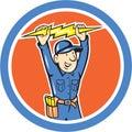 Thunderbolt Toolman Electrician Lightning Bolt Cartoon Royalty Free Stock Photo