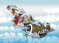 Thunderbolts cartoon style caricatures of famous fighter bomber plane p thunderbolt Stock Image