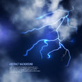 Thunderstorm with clouds and lightnings. Vector
