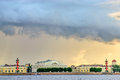 Thunderstorm clouds over vasilyevsky island st petersburg Royalty Free Stock Image