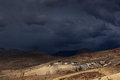 Thunderstorm over kibber himalayan mountain village spiti himachal pradesh india Royalty Free Stock Photos