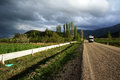 Before thunderstorm on the road in turkey Royalty Free Stock Image