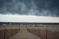 Thunderstorm rolls into nyc a rockaway beach Royalty Free Stock Photos