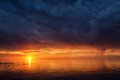 Thunderstorm sky on the lake Balkhash, Kazakhstan Royalty Free Stock Photo