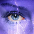 Thunderstorm woman face with painted on it nature concept Stock Image