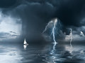 Thunderstorm and yacht at the ocean Royalty Free Stock Photo