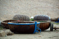 Thung chai vietnamese boat basket drying on the shore Royalty Free Stock Image