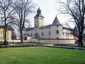 Thurzo castle in bytca during spring view of park with the turzov palác also called bytčiansky zámok built firstly as a Royalty Free Stock Image