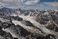 Tian shan in kyrgyzstan majestic mountain peaks and glaciers mountain range Stock Photos