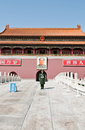 Tiananmen beijing china march th chinese soldier stands at attention in front of gate of heavenly peace Royalty Free Stock Photos