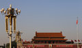 Tiananmen gate tower to the forbidden city beijing china north of square Stock Image