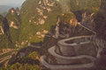 Tianmen mountain complicated must evenings sunshine Royalty Free Stock Photo