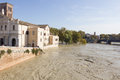 Tiber Island and a flooded Tiber, Rome, Italy Royalty Free Stock Photos