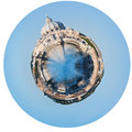 Tiber river and st peter basilica in rome little planet urban spherical view of isolated on white background Royalty Free Stock Image