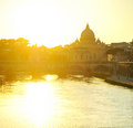 Tiber and St. Peter's cathedral Royalty Free Stock Images