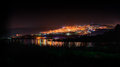 Tiberias at night from the sea of galilee Royalty Free Stock Images