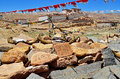 Tibet in the buddhist monastery on the rocks written prayers Royalty Free Stock Image