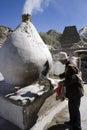 Tibet - Buddhist pilgrim in Lhasa Royalty Free Stock Photo