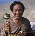 Tibet - Buddhist Pilgrim - Yambulagang Palace Royalty Free Stock Photo