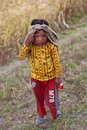 Tibetan boy from Dolpo, Nepal Stock Photography