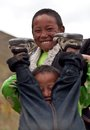 Tibetan boys from Dolpo, Nepal Royalty Free Stock Photography