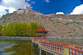Tibetan bridge and monastery Stock Photography