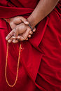 Tibetan buddhism prayer beads in buddhist monk hands ladakh india Royalty Free Stock Photos