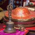Tibetan Buddhist still life - vajra and bell.  Ladakh, India. Royalty Free Stock Photo