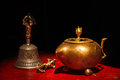 Tibetan buddhist still life vajra bell water vessel hemis gompa ladakh india Royalty Free Stock Photos