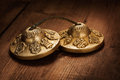 Tibetan buddhist tingsha cymbals on wooden background Royalty Free Stock Photos